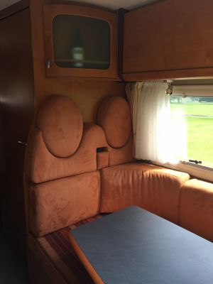 Comfortable seating area in Demelza Motorhome