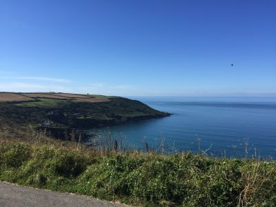 View of the coast during a drive along Cornish roads