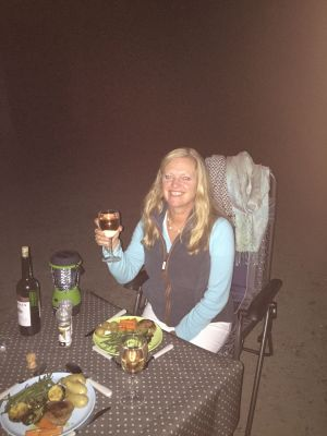 Enjoying an alfresco dinner during a tour of France